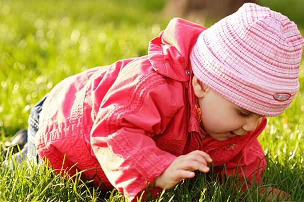 Baby kryper i gresset. Foto