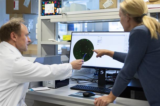 Foto av to ansatte som peker på samme skjerm