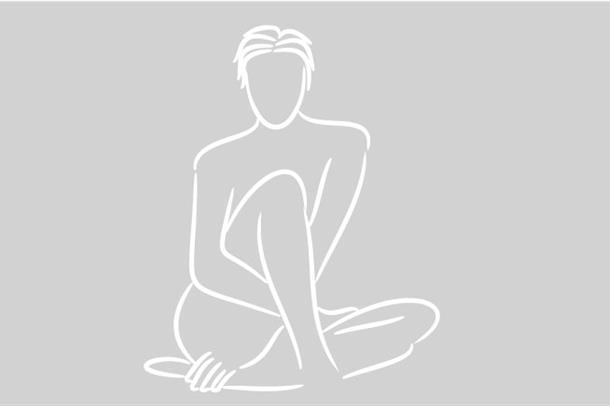 Grafisk illustrasjon av sittende kvinne.