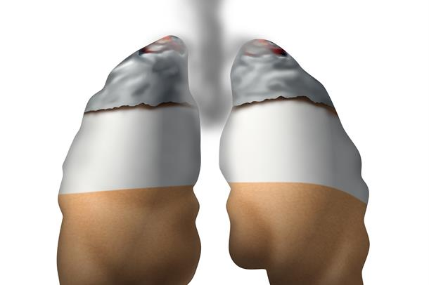 Picture of smoking lungs. Illustration
