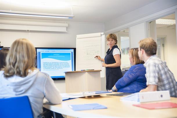 Foto: Person står og underviser forran skjerm.